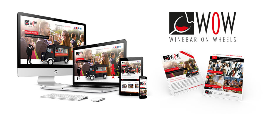 Ontwerp logo, website en flyer Winebar On Wheels