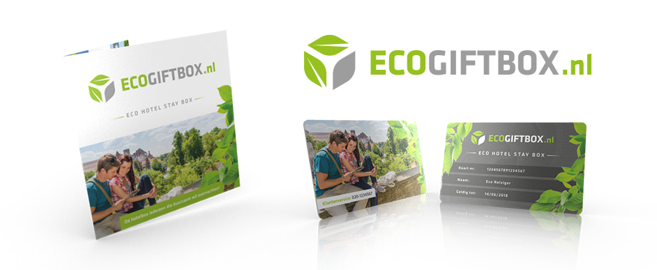 Ontwerp logo, card, folder, briefhoofd en package design voor Eco Gift Box