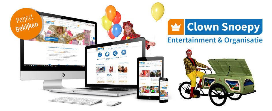 Responsive website ontwerp Clown Snoepy Entertainment
