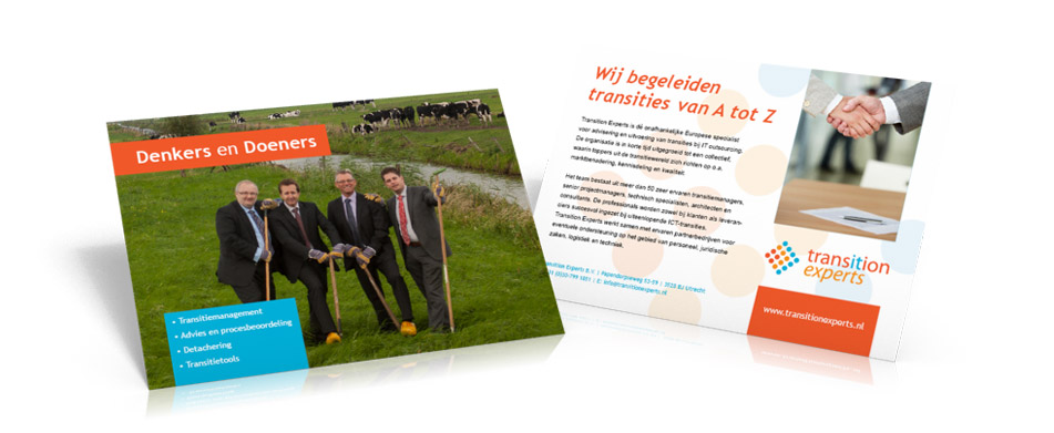 Ontwerp flyer en advertentie - Transition Experts bv